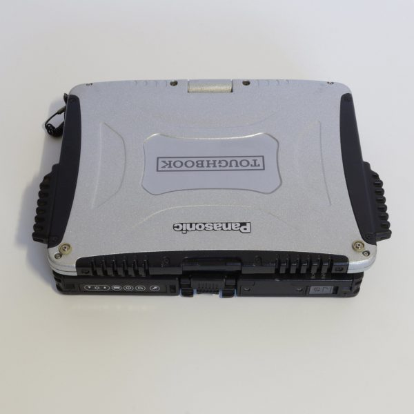 An image of a panasonic toughbook cf19 with the lid closed